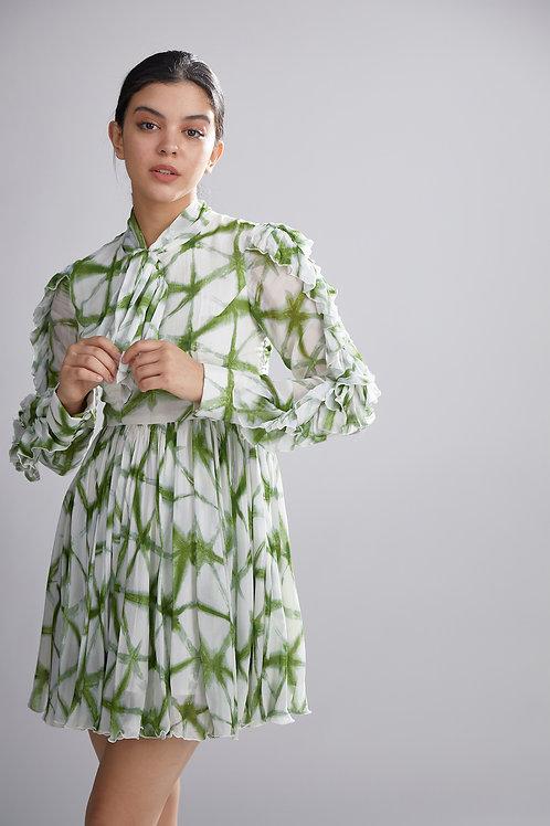 Cream And Green Shibori Dress