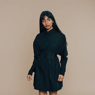 Black Go With The Flow Shirt Dress