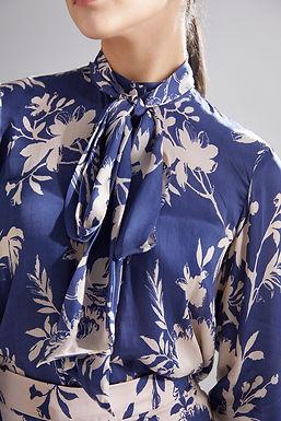 Blue And Peach Floral Bow Shirt