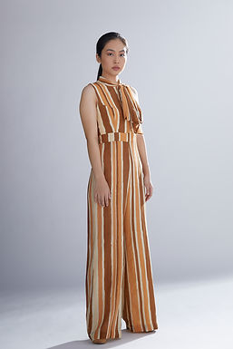 Brown Rust And Cream Jumpsuit