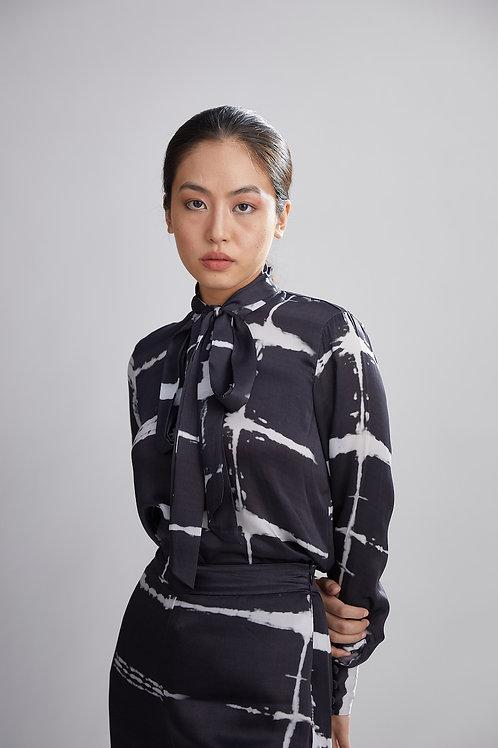 Black And White Shibori Bow Shirt