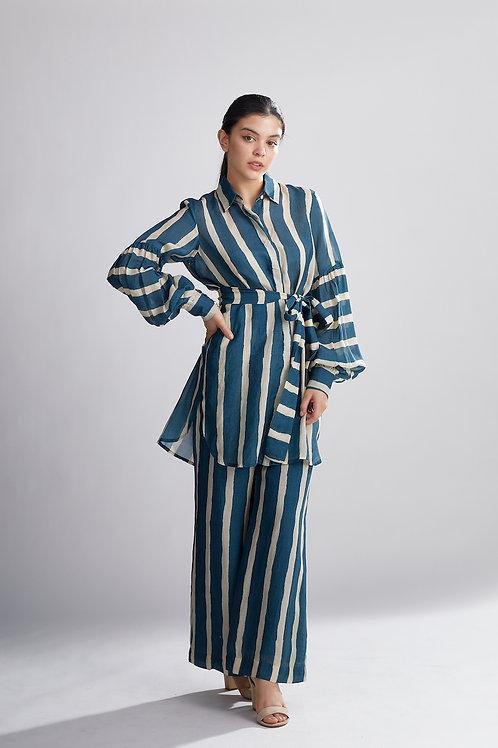 Teal And Cream Stripe Long Shirt