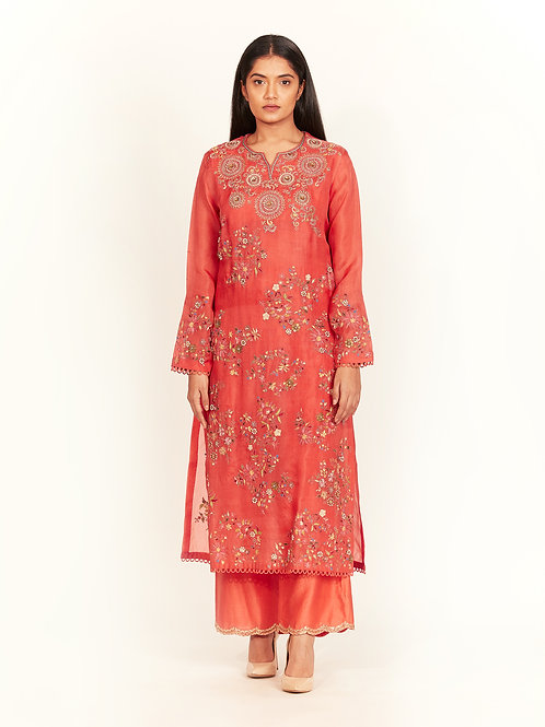 Coral Embellished Kurta Set