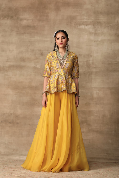 Yellow Peplum - Sharara Set