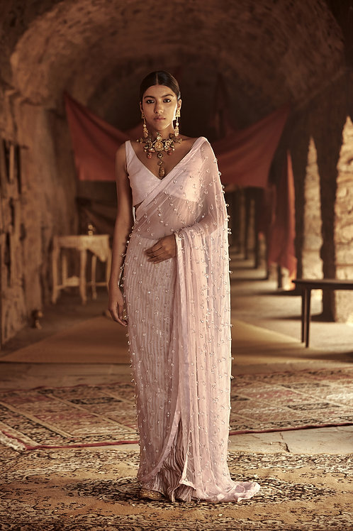 Light Pink Nadira Saree Set
