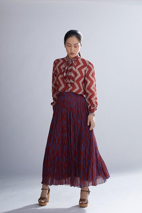 Dabu Zig Zag Pleated Skirt