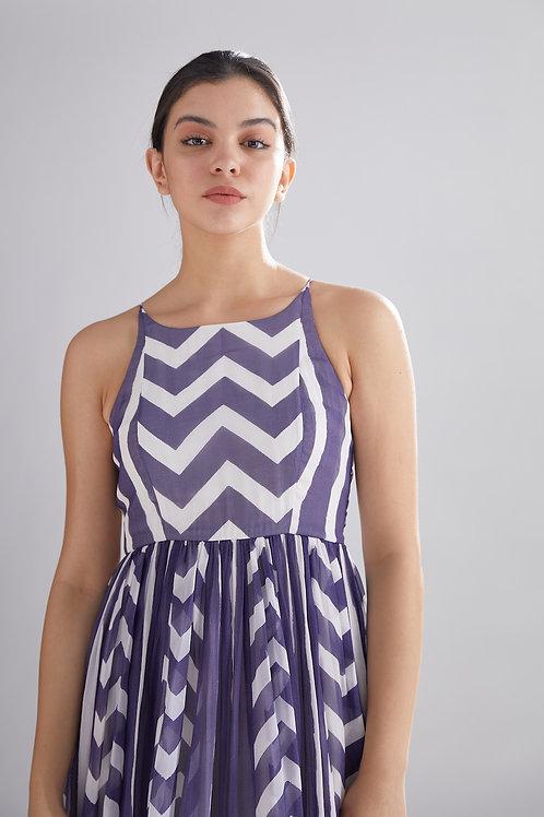 Purple And White Zig Zag Stripe Dress