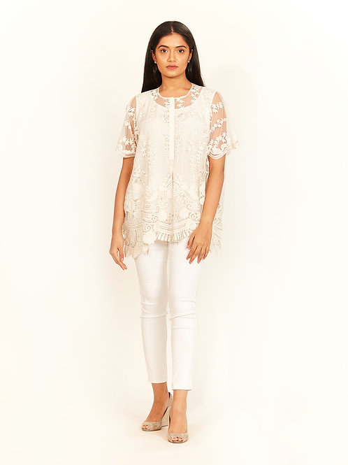 Ivory Cord Work Embroidered Top