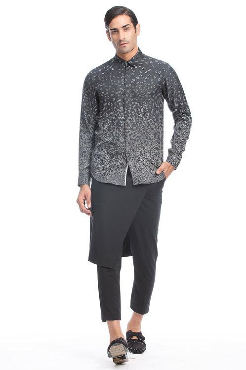Charcoal Floral Printed Silk Shirt