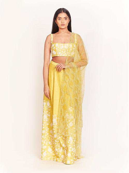 Yellow Embellished Lehenga Set