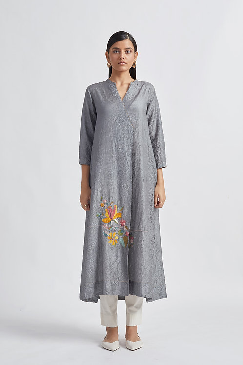 Washed Grey Flora Silk Tunic