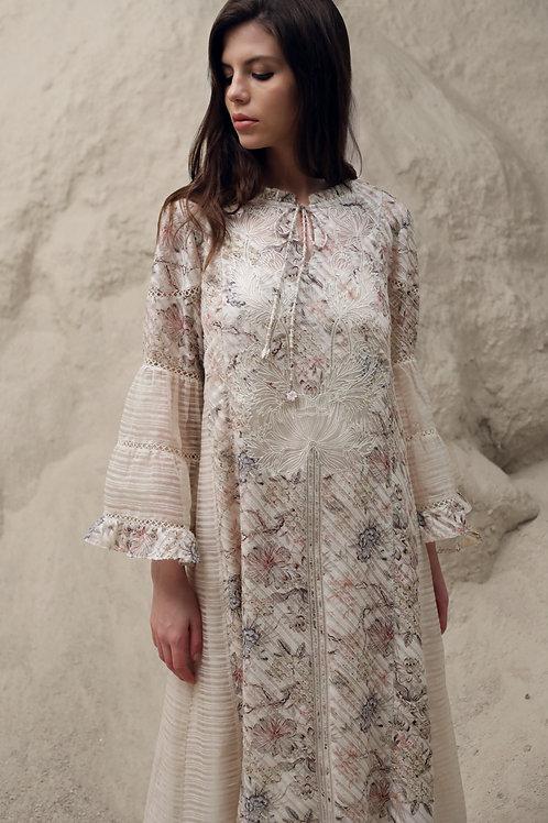 Ivory Enchanted Floral Print Paneled Dress