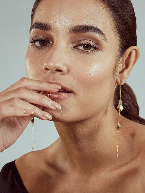 Gold Ayaana Diamond Mirror  Earrings