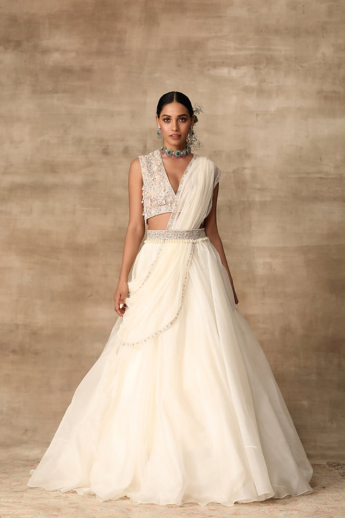 Ivory Lehenga with Peach Pearl Embroidery