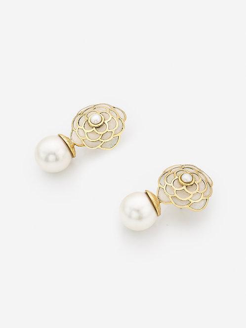 Mother Of Pearl Infinite Petals Resin Libra Earrings