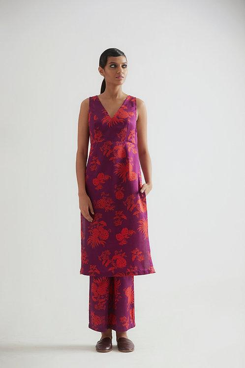 Purple Bentota All Over Floral Printed Kurta Pant Set