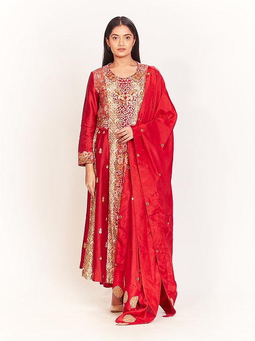 Red Embroidered Kurta Set