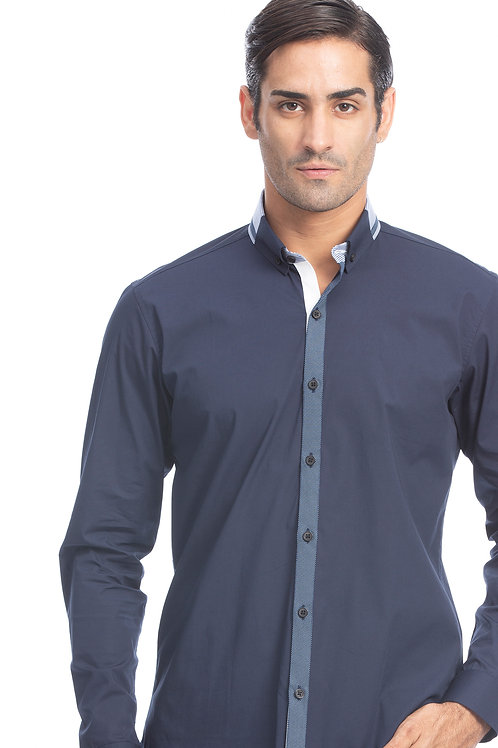 Navy Contrast Placket Shirt