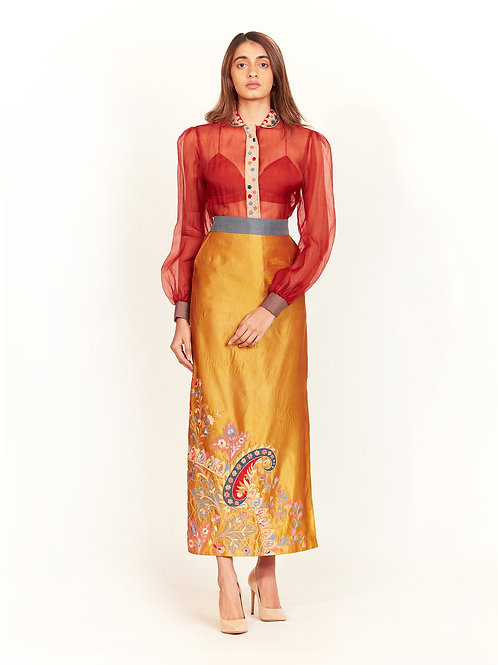 Rust Sheer Embroidered Shirt And Mustard Skirt Set