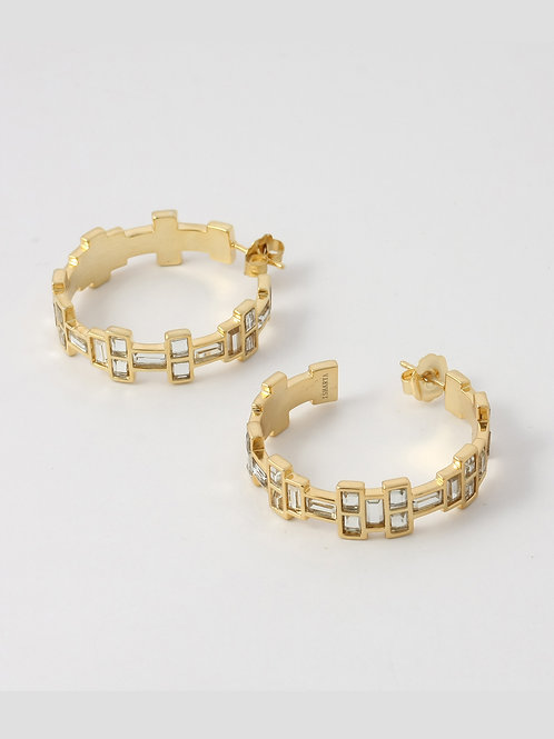 Gold Disco Mirror Hoop Earrings