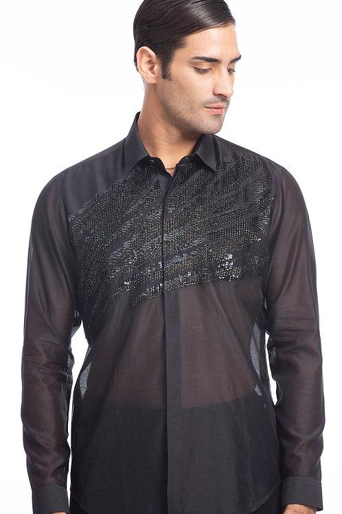 Black Metallic Voile Shirt