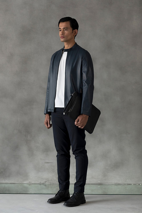 Navy Natsuo Leather Jacket