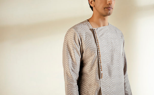 Grey Dot Banarasi Kurta