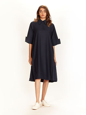 Navy Collared A-Line Dress