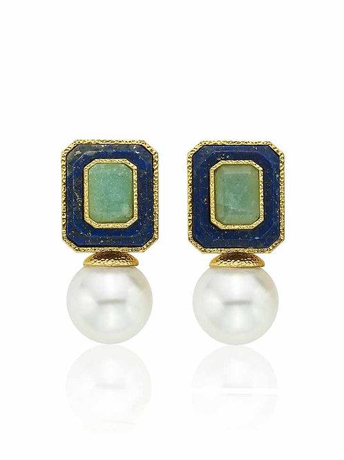 Noor Amazonite Pearl Drop Earrings