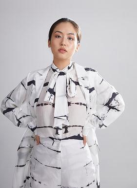 White And Black Shibori Bow Shirt