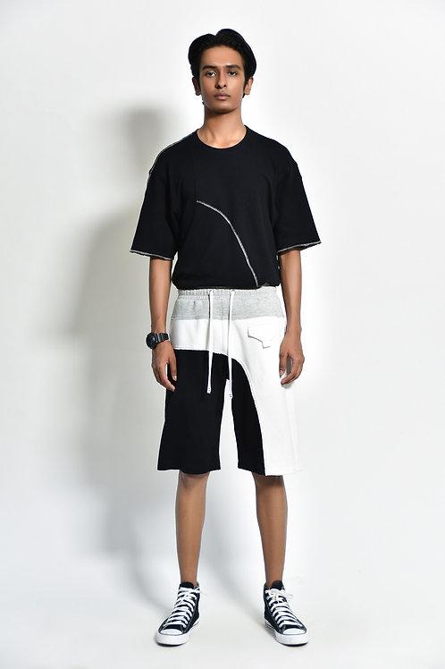 Black , White and Grey Tri Colour Shorts