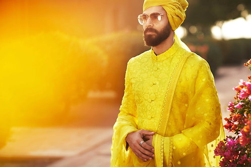 Yellow Damask Sherwani