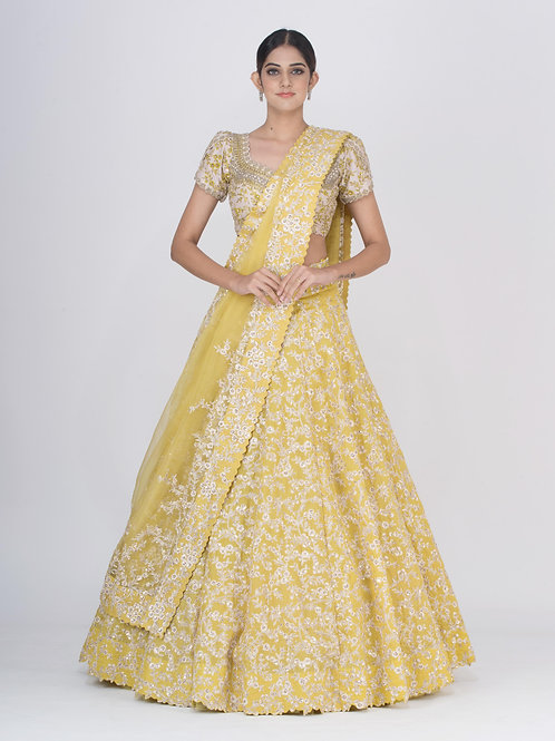 Yellow Chitra Nariin Resham Lehenga