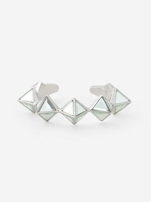Silver Pyramid Mirror Cuff