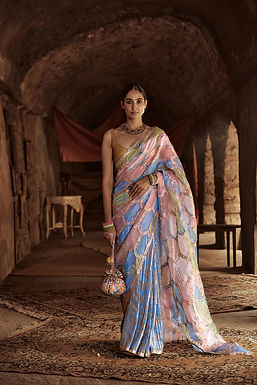 Multicolour And Skyblue Erum Saree Set
