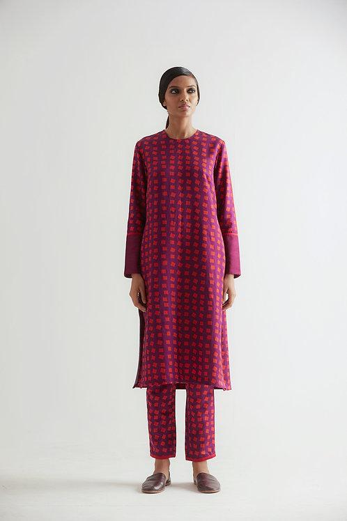 Purple Trincomalee Geometric Print Kurta Pant Set