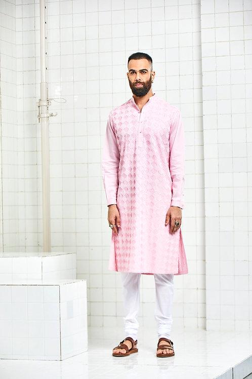 Pink Balotra Textured Kurta Set