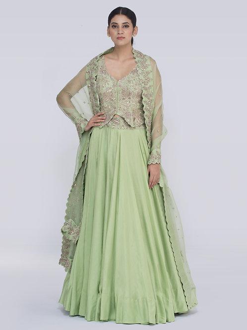 Green Naima Chitra Lehenga
