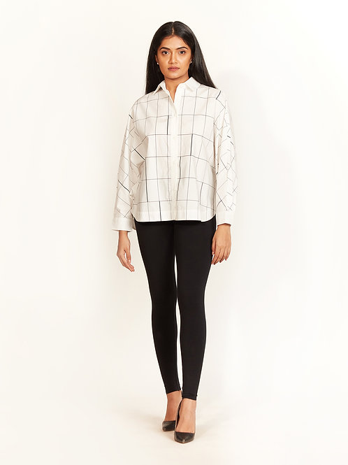 Ivory Checked Print Shirt