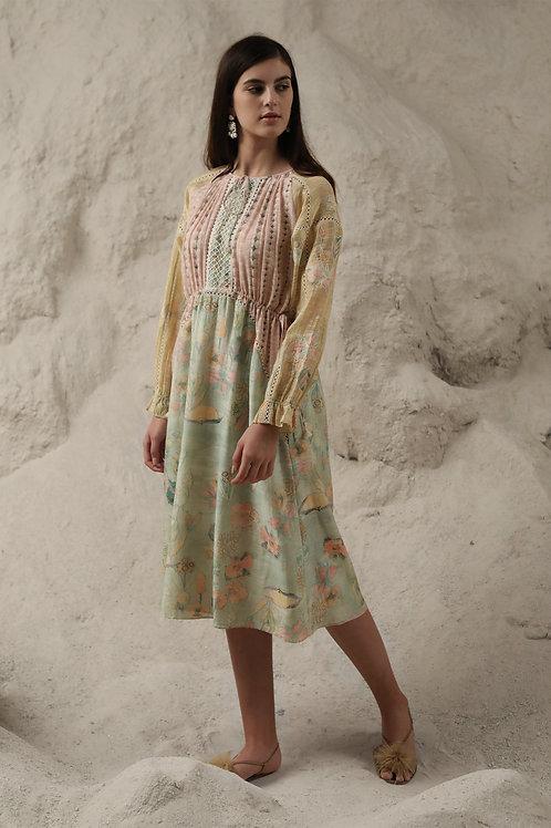 Green Windflower Print Kaftan Dress