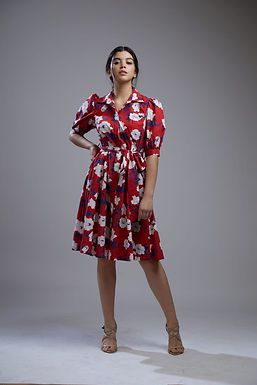 Red And White Floral Dress