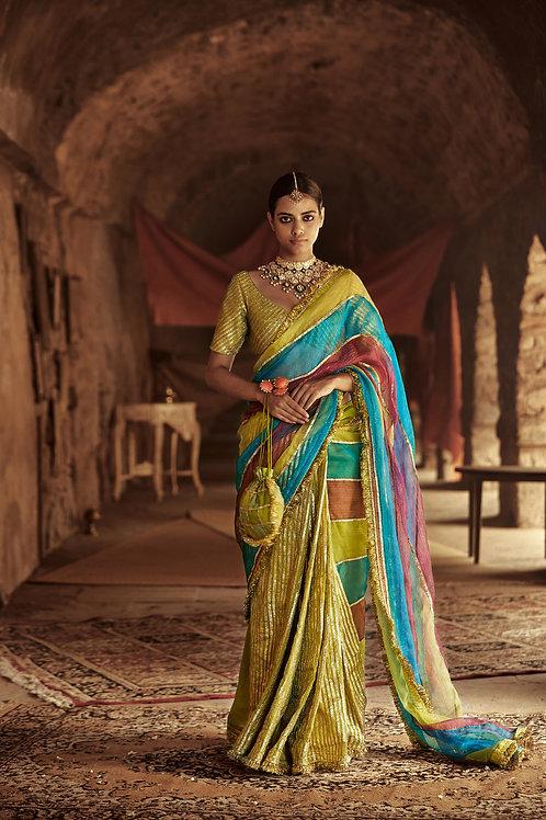 Multicolour And Olive Green Jannat Saree Set