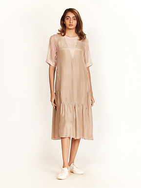 Beige And Pink Frill Dress