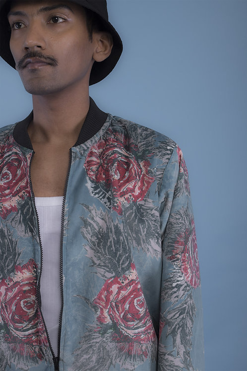 Blue Rose Scripture Bomber Jacket