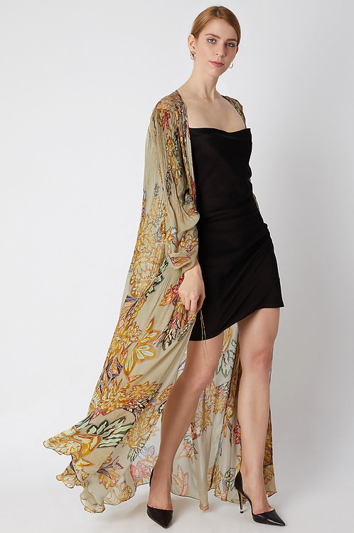 Gold Floral Printed Cape