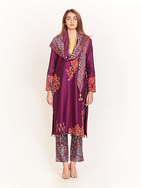 Purple Embroidered Kurta Set