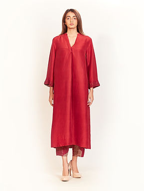 Garnet Red Silk Tunic Set