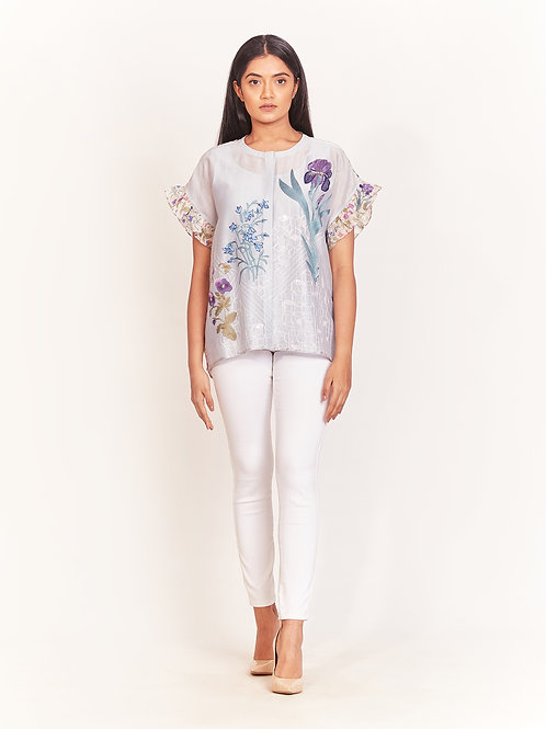 Powder Blue Floral Embroidered Top