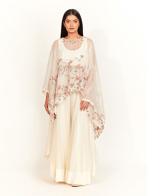 Ivory Floral Embroidery Cape Set