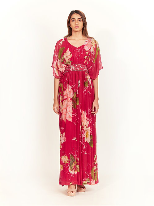 Pink Floral Printed Maxi Dress